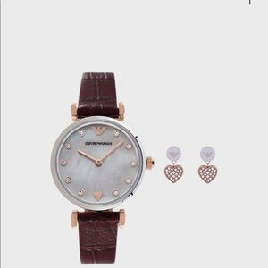 Emporio Armani watch and earinggs gift set